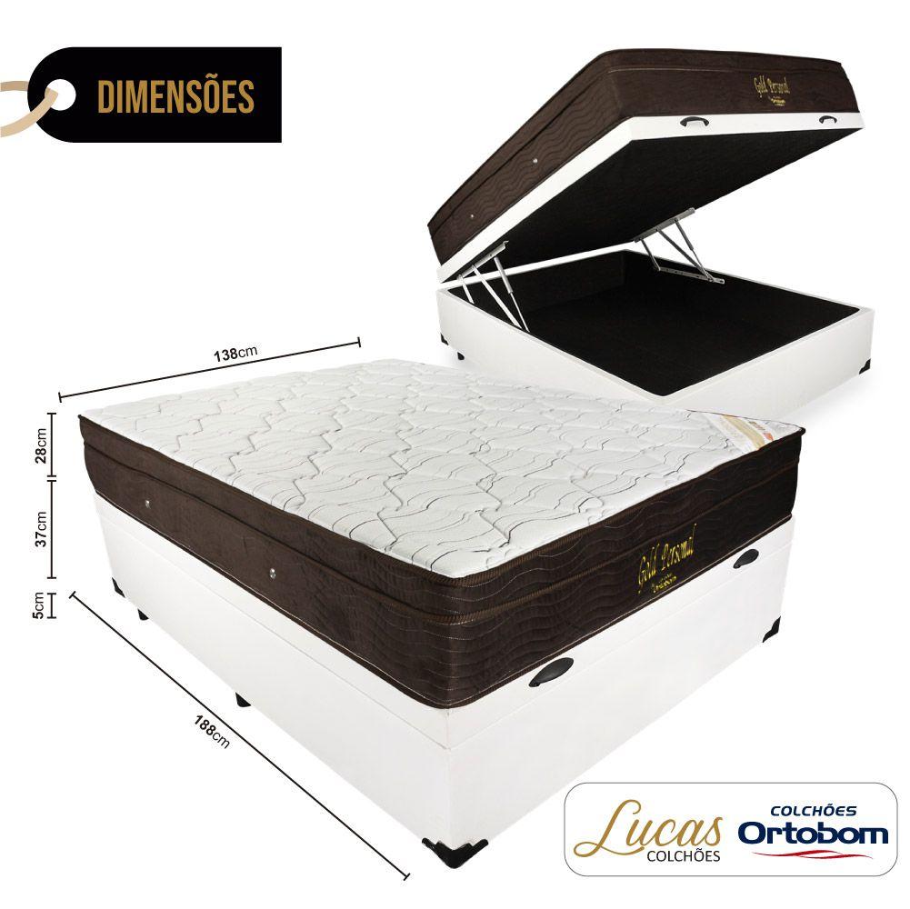 Cama Box Com Baú Casal + Colchão De Molas Ensacadas - Ortobom - Gold Personal 138cm