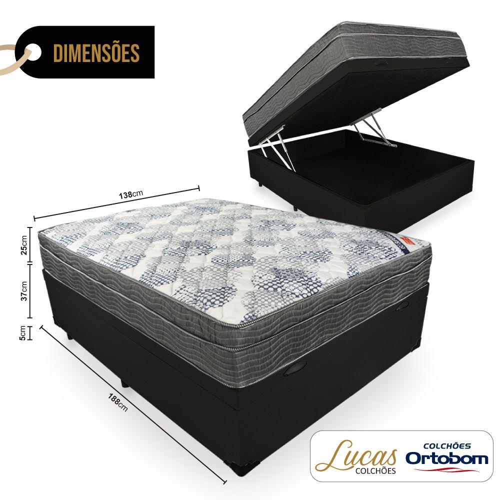 Cama Box Com Baú Casal + Colchão De Molas Ensacadas - Ortobom - ISO SuperPocket 138cm