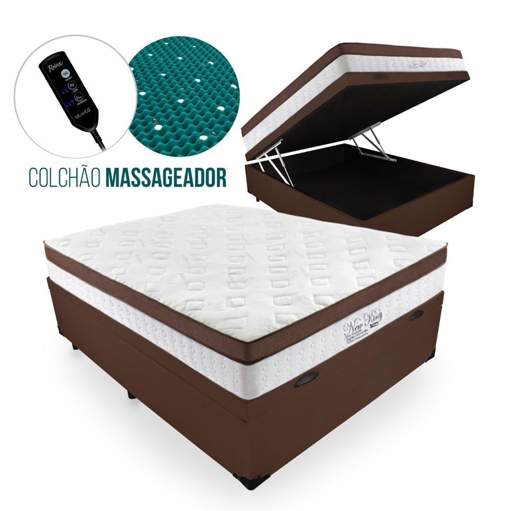 Cama Box Com Baú Casal + Colchão Massageador c/ Infravermelho - Anjos  - New King 138cm