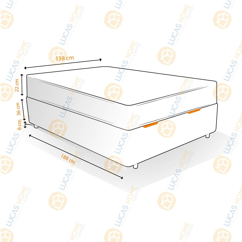 Cama Box com Baú Casal Rústica + Colchão De Molas Ensacadas - Anjos - Classic 138x188x64cm