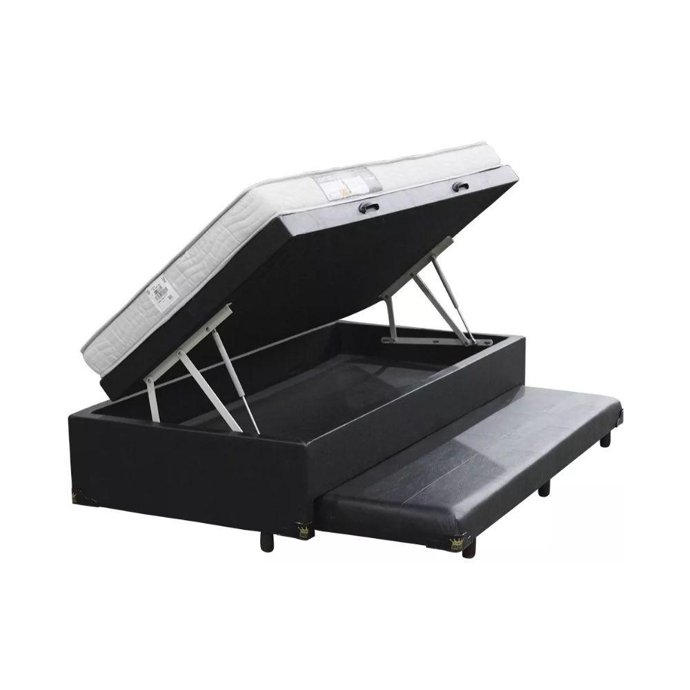 Cama Box Com Baú e Auxiliar Solteiro + Colchão De Espuma D23 - Ortobom - Light 88cm