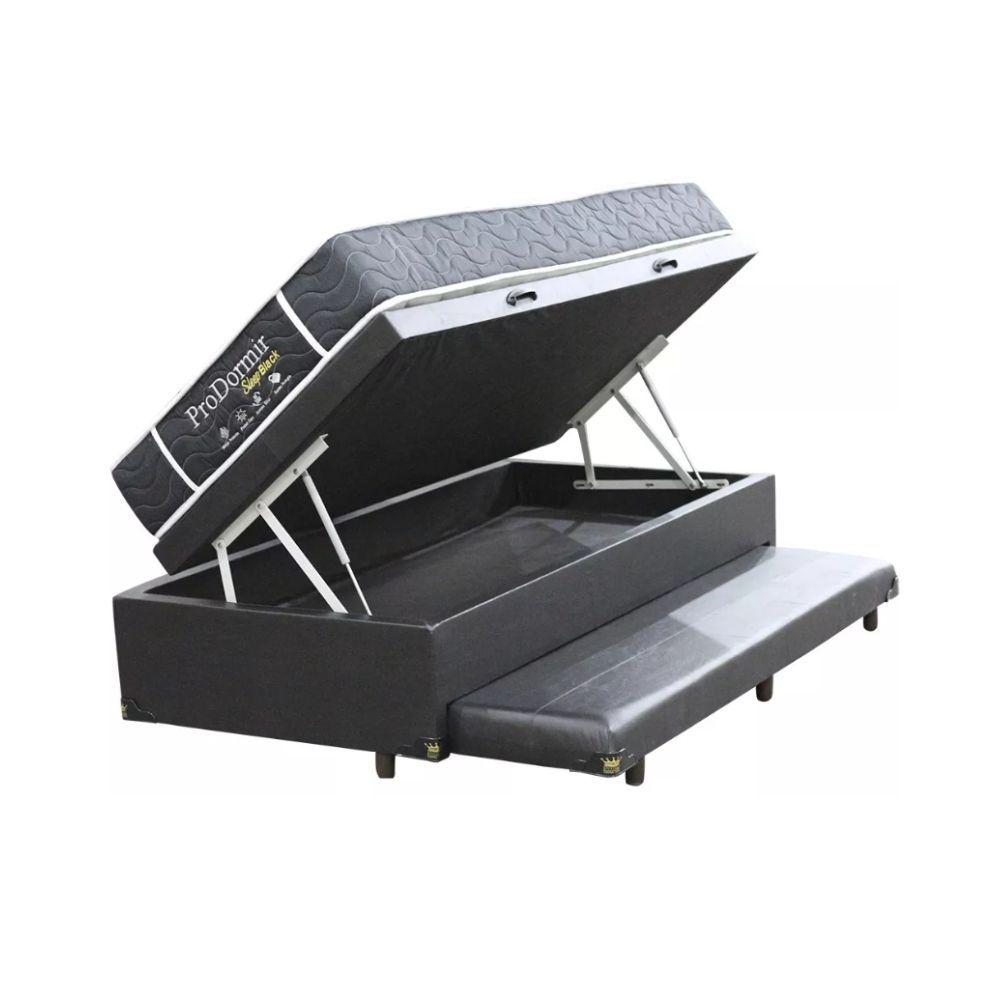 Cama Box Com Baú e Auxiliar Solteiro + Colchão De Molas - Probel - Sleep Black 88cm