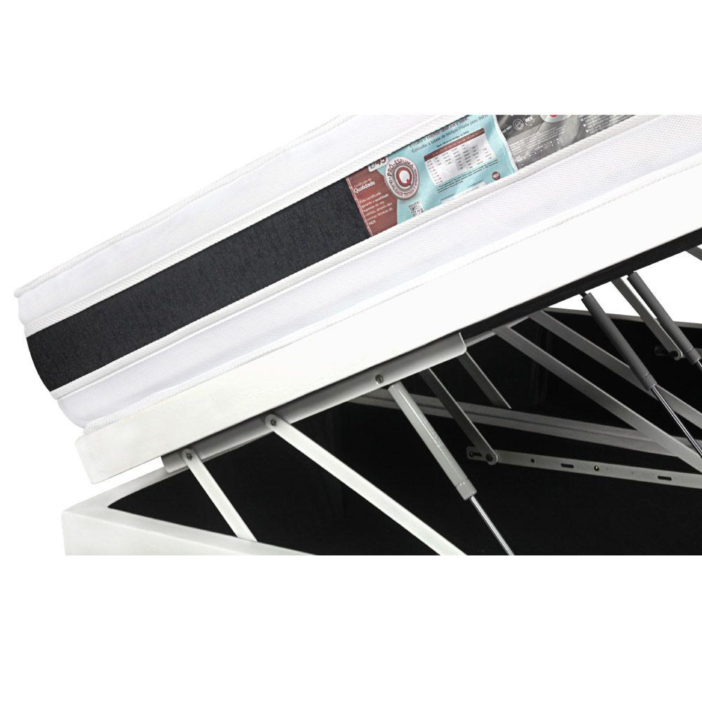 Cama Box Com Baú King + Colchão De Espuma D45 - Castor - Black White Double Face 193cm