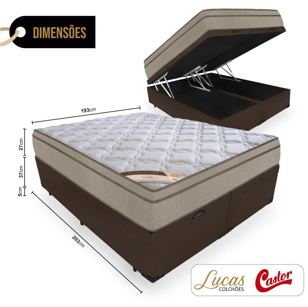 Cama Box Com Baú King + Colchão de Molas  - Castor - Revolution Bonnel 69x203x193cm