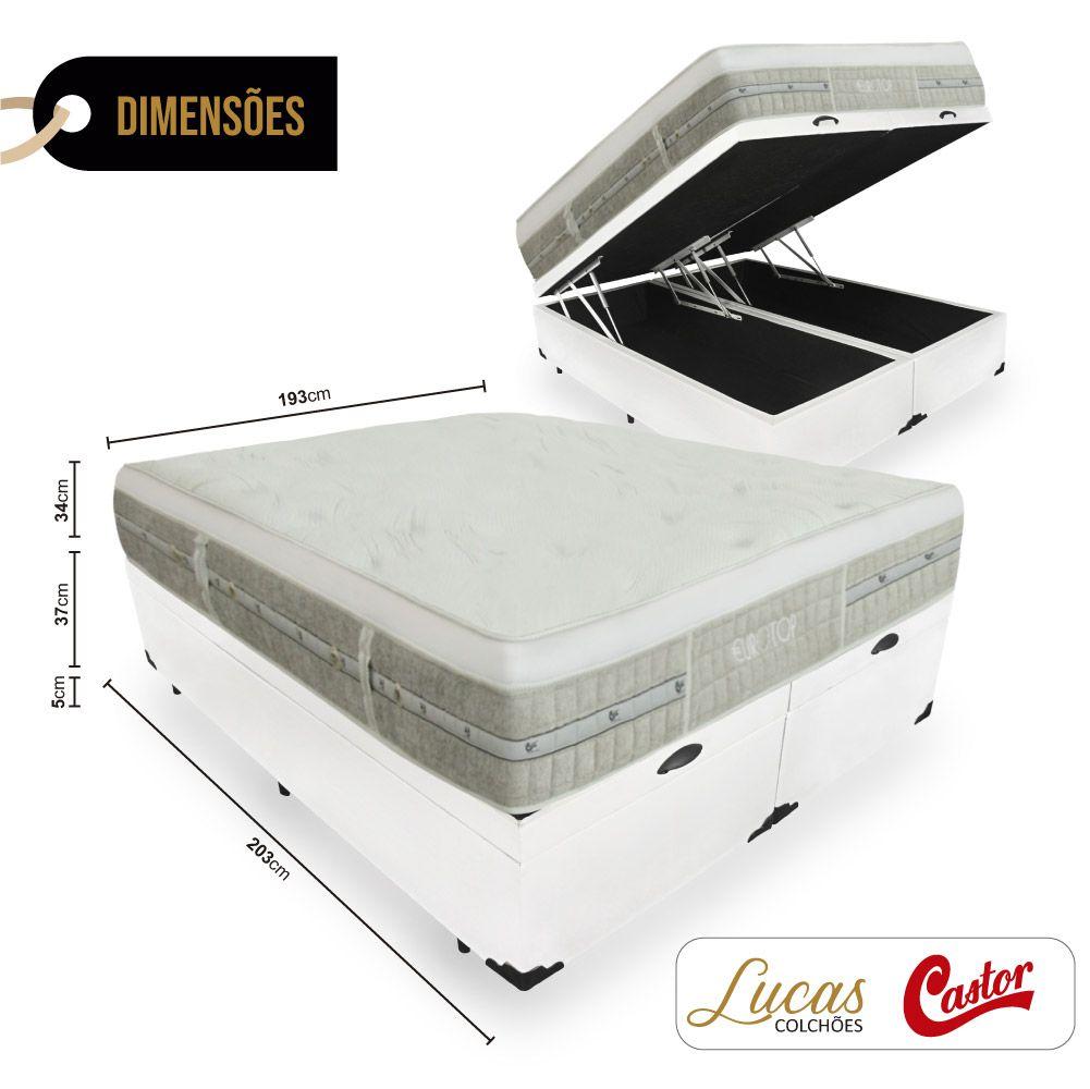 Cama Box Com Baú King + Colchão De Molas Ensacadas - Castor - Eurotop Summer & Winter 193cm