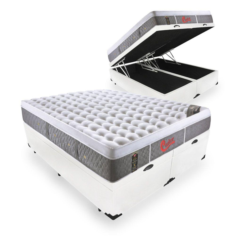 Cama Box Com Baú King + Colchão De Molas Ensacadas - Castor - Light Stress Oxygen Plush One Face 193cm