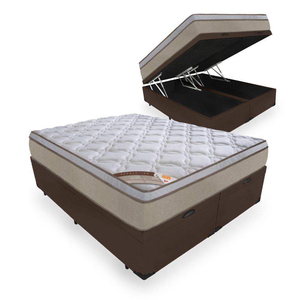 Cama Box Com Baú King + Colchão de Molas Ensacadas - Castor - Revolution Híbrido 69x203x193cm