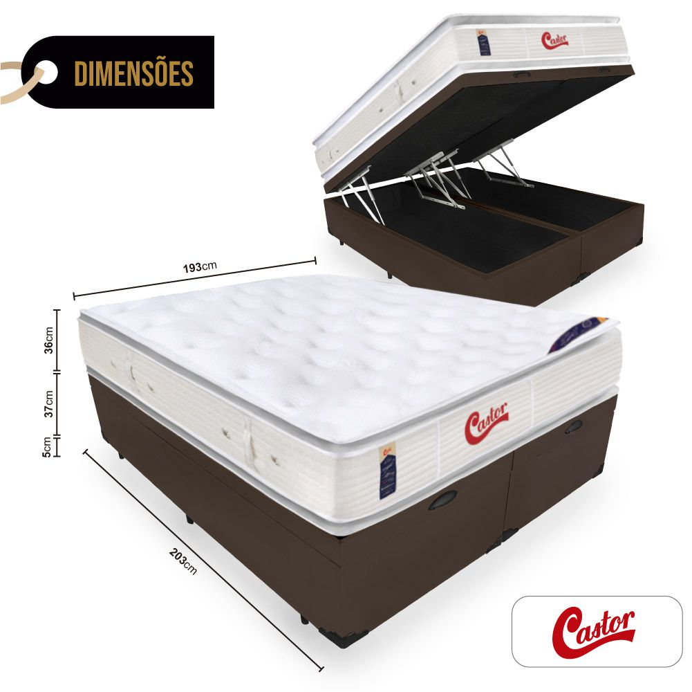 Cama Box Com Baú King + Colchão de Molas Ensacadas  - Castor - Vitagel SLX Double Face Pillow Top  78x203x193cm