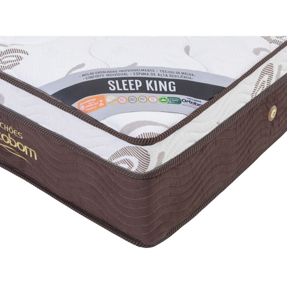 Cama Box Com Baú King + Colchão De Molas Ensacadas - Ortobom - Sleep King 193cm