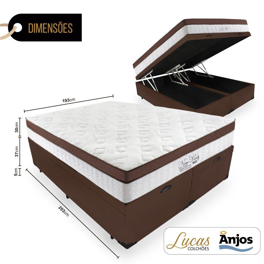 Cama Box Com Baú King + Colchão Massageador c/ Infravermelho - Anjos  - New King 193cm