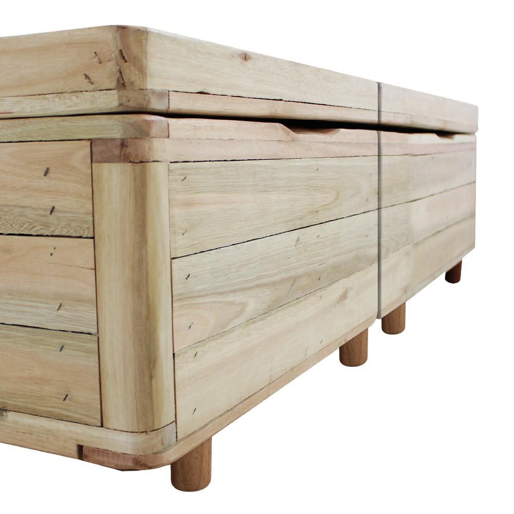 Cama Box com Baú King Rústica + Colchão De Espuma D45 - Castor - Black White Double Face 193x203x69cm