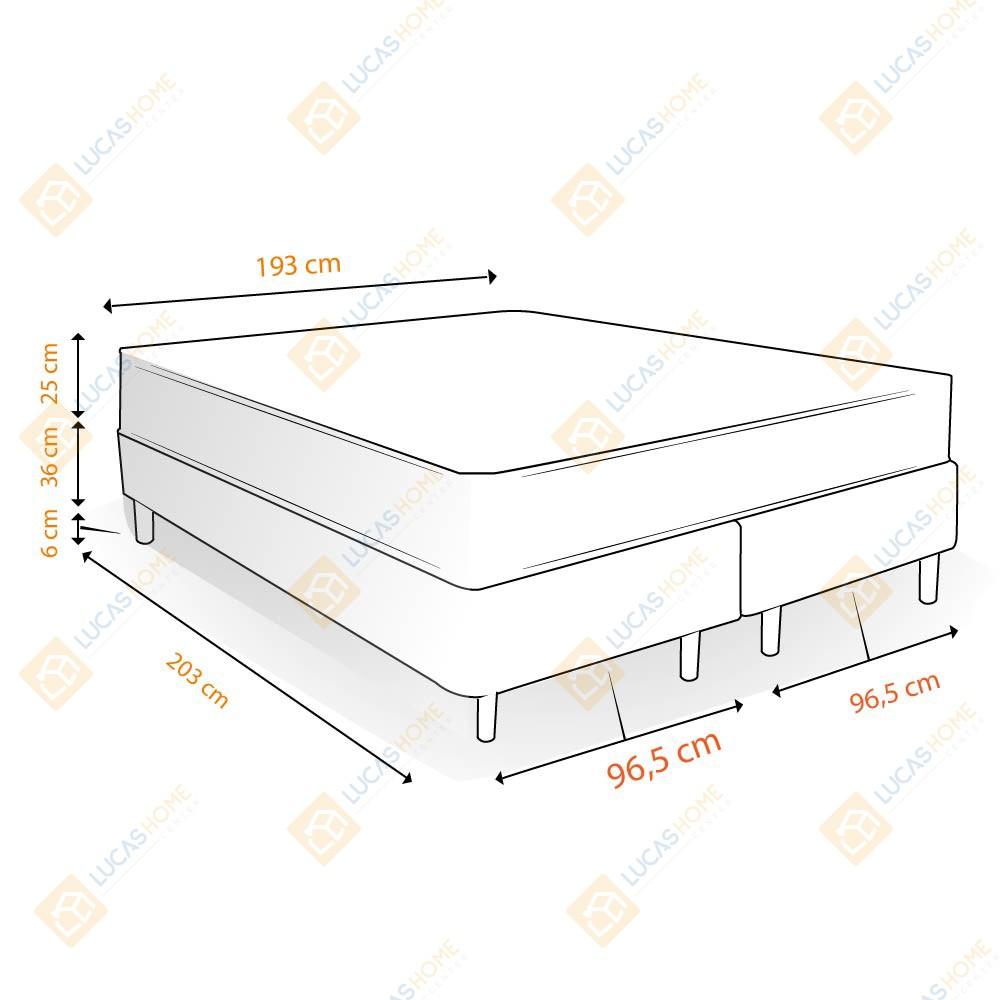Cama Box com Baú King Rústica + Colchão De Molas Ensacadas - Castor - Class Pocket Híbrido One Face 193x203x67cm