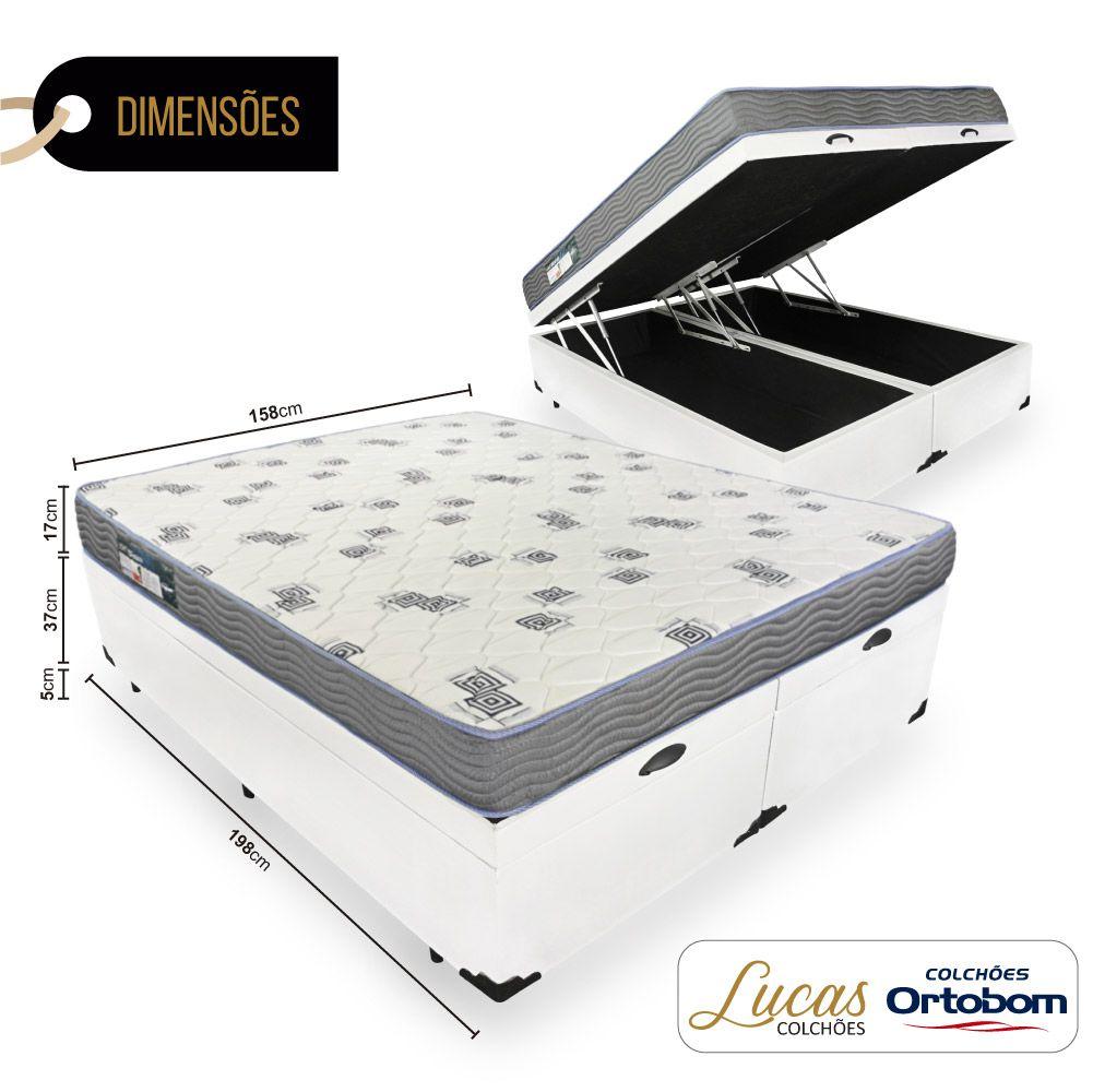 Cama Box Com Baú Queen + Colchão De Espuma D33 - Ortobom - Light 158cm