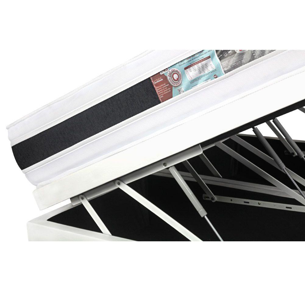 Cama Box Com Baú Queen + Colchão De Espuma D45 - Castor - Black White Double Face 158cm