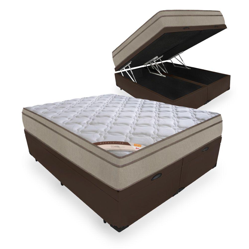 Cama Box Com Baú Queen + Colchão de Molas  - Castor - Revolution Bonnel 69x198x158cm