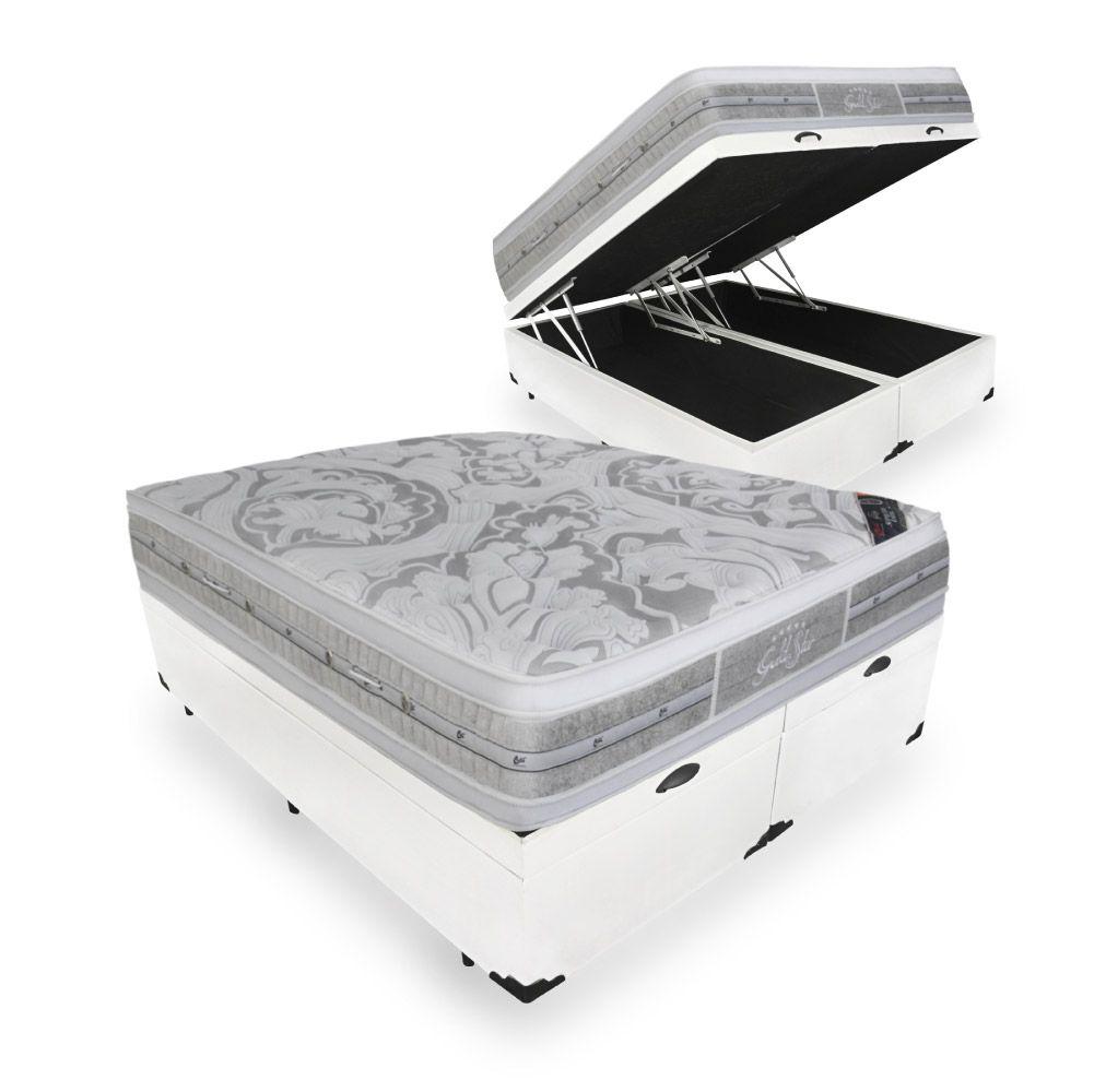 Cama Box Com Baú Queen + Colchão De Molas Ensacadas - Castor - Gold Star Double Face 158cm