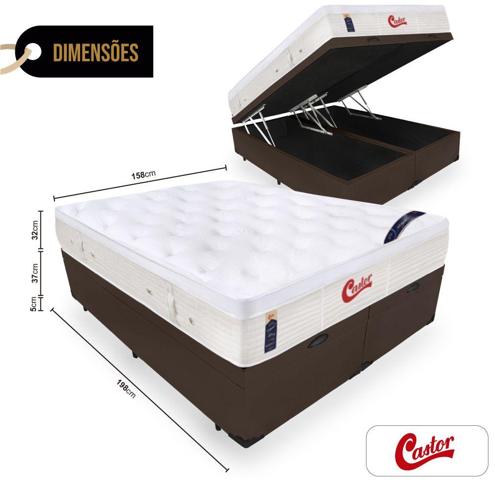 Cama Box Com Baú Queen + Colchão de Molas Ensacadas  - Castor - Vitagel Euro 74x198x158cm