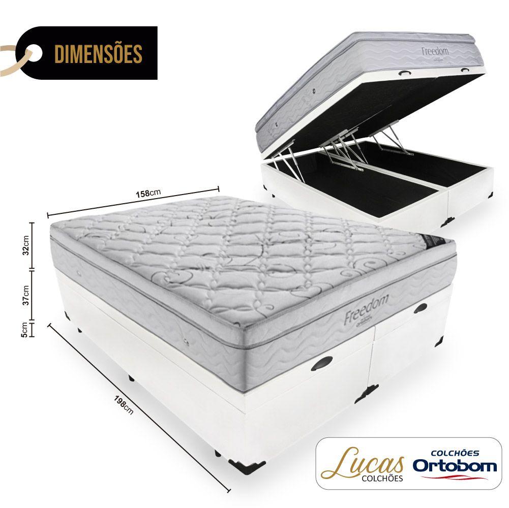 Cama Box Com Baú Queen + Colchão De Molas Ensacadas Com Pillow Top - Ortobom - Freedom 158cm