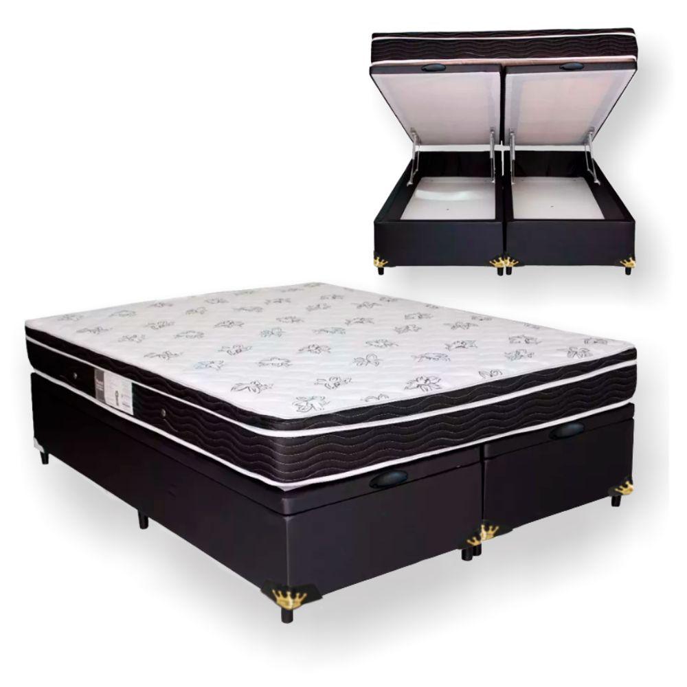 398dc2164 Cama Box Com Baú Queen + Colchão De Molas - Ortobom - Physical Nanolastic  158cm