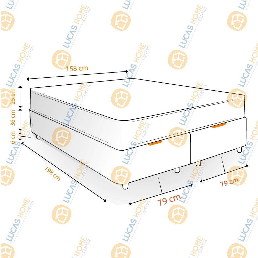 Cama Box com Baú Queen Rústica + Colchão De Molas - Castor - Class Bonnel One Face 158x198x67cm