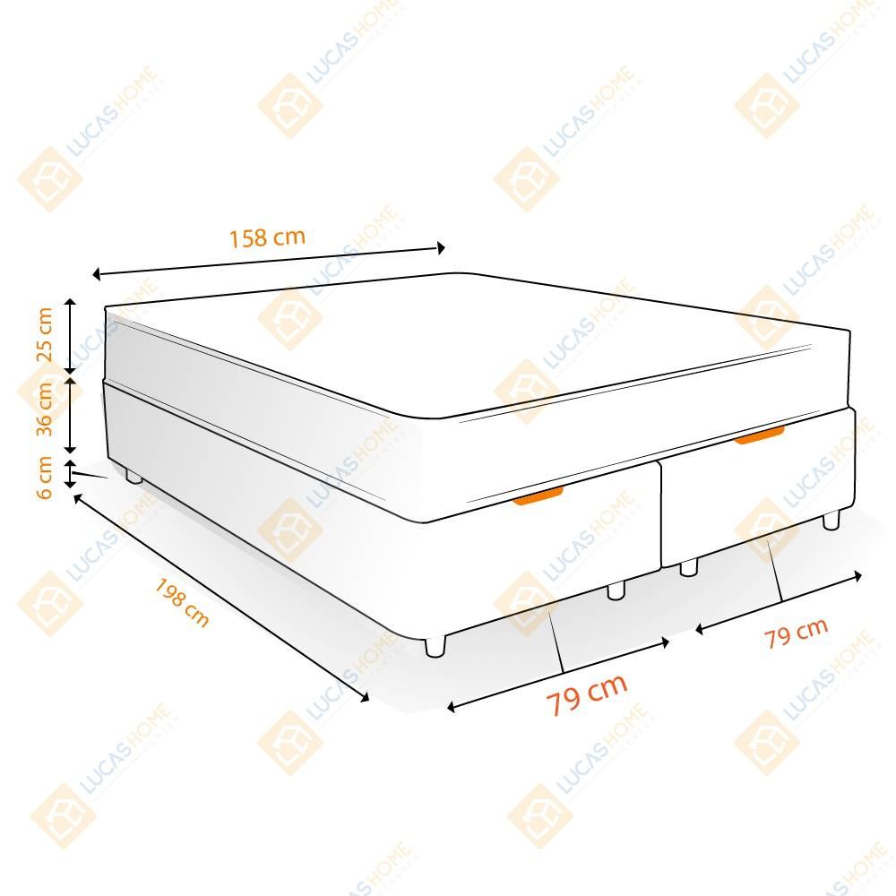 Cama Box com Baú Queen Rústica + Colchão De Molas Ensacadas - Castor - Class Pocket Híbrido One Face 158x198x67cm