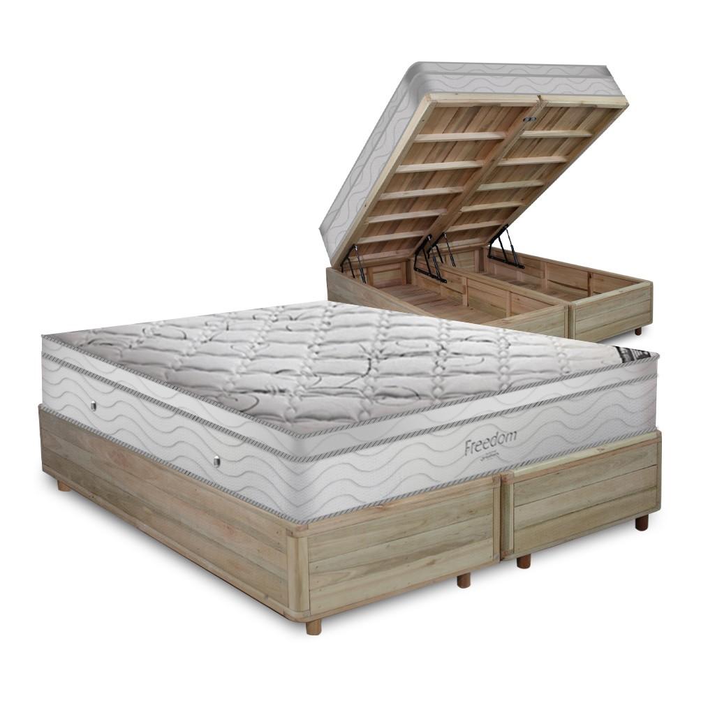 Cama Box com Baú Queen Rústica + Colchão De Molas Ensacadas Com Pillow Top - Ortobom - Freedom 158x198x74cm