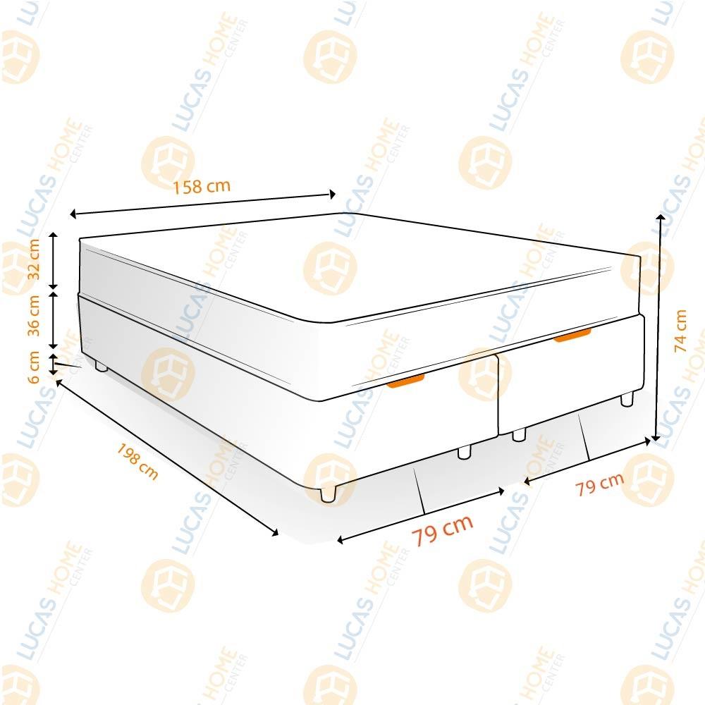 Cama Box com Baú Queen Rústica + Colchão De Molas Ensacadas - Probel - Evolution 158x198x74cm