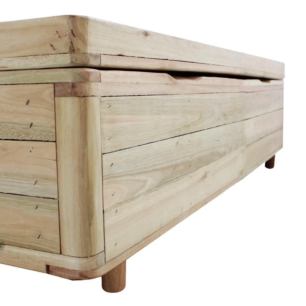 Cama Box com Baú Rústica Solteiro  + Colchão De Molas - Castor - Class Bonnel One Face 88x188x67cm