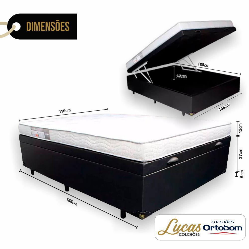 Cama Box Com Baú Solteirão + Colchão De Espuma D23 - Ortobom - Light 110cm