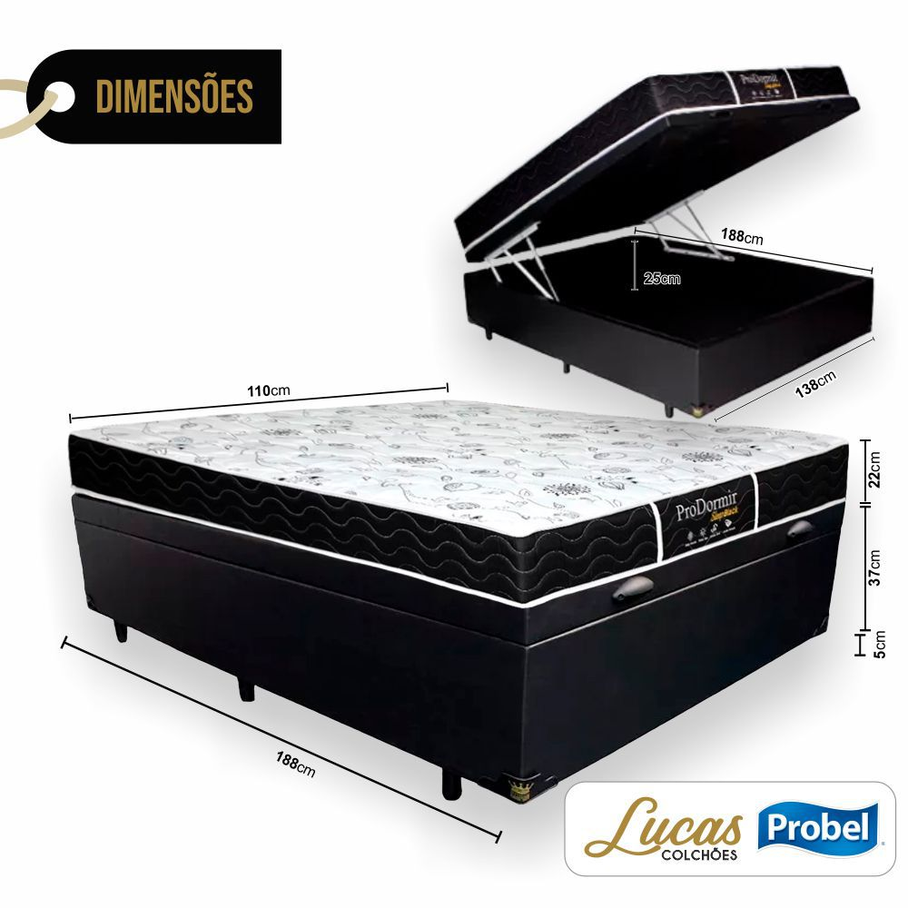 Cama Box Com Baú Solteirão + Colchão De Molas - Probel - Prodormir Sleep Black 110cm