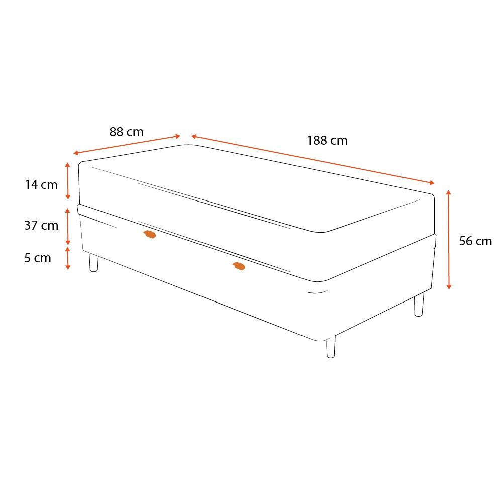 Cama Box com Baú Solteiro Branca + Colchão de Espuma D23 - Ortobom - Light D23 88x188x56cm