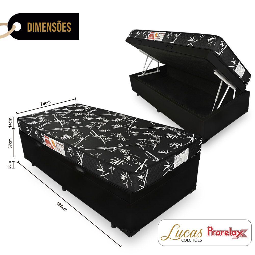 Cama Box Com Baú Solteiro + Colchão De Espuma D23 - Prorelax - Topázio 78cm