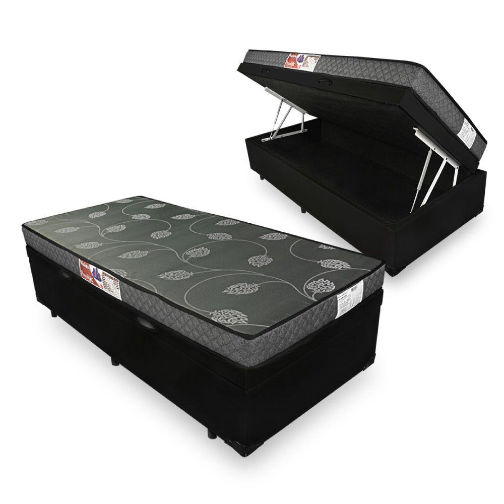 Cama Box Com Baú Solteiro + Colchão De Espuma D20 - Prorelax - Violeta 88cm