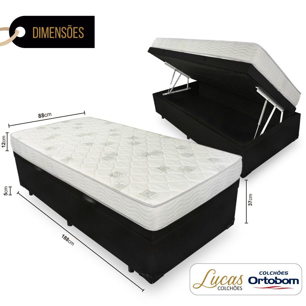 Cama Box Com Baú Solteiro + Colchão De Espuma D23 - Ortobom - Light 88cm