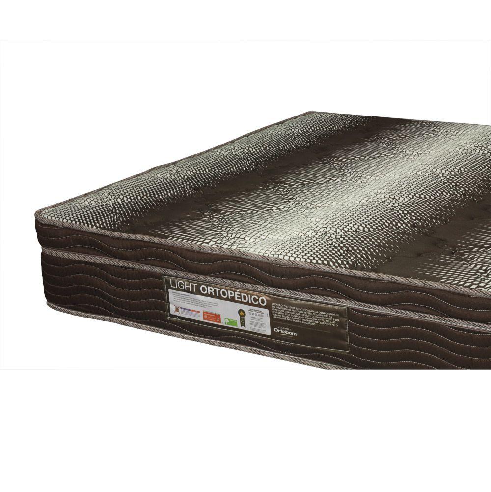 Cama Box Com Baú Solteiro + Colchão De Espuma D28 - Ortobom - Light Ortopédico 88cm