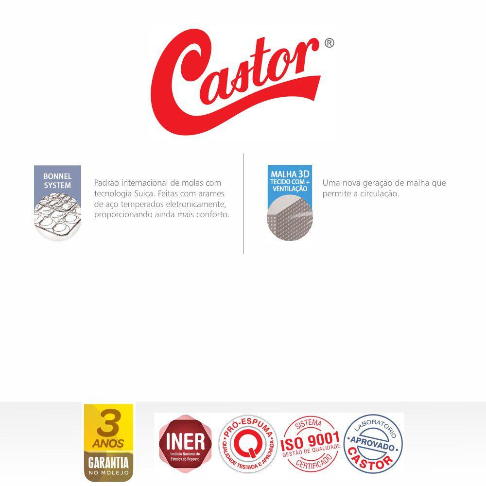 Cama Box Com Baú Solteiro + Colchão de Molas - Castor - Silver Star Air 74x188x88cm