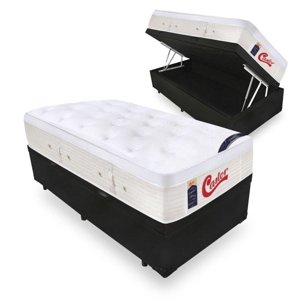 Cama Box Com Baú Solteiro + Colchão de Molas Ensacada  - Castor - Vitagel Euro 74x188x88cm
