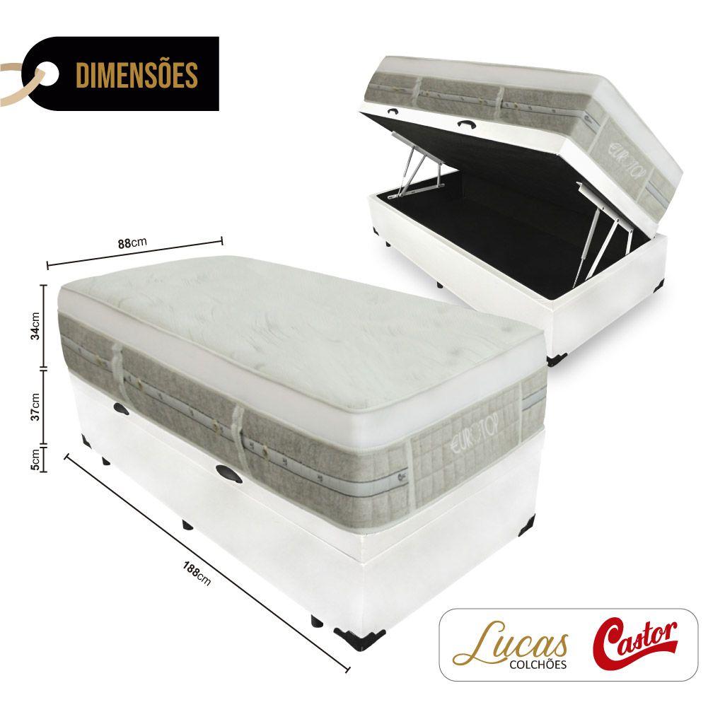 Cama Box Com Baú Solteiro + Colchão De Molas Ensacadas - Castor - Eurotop Summer & Winter 88cm
