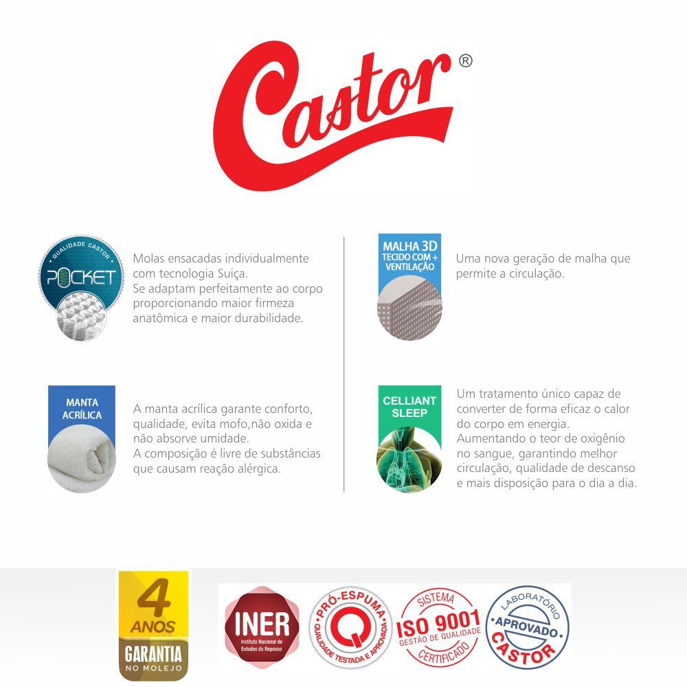 Cama Box Com Baú Solteiro + Colchão de Molas Ensacadas - Castor - Light Stress Oxygen New Double Face 76x188x88cm