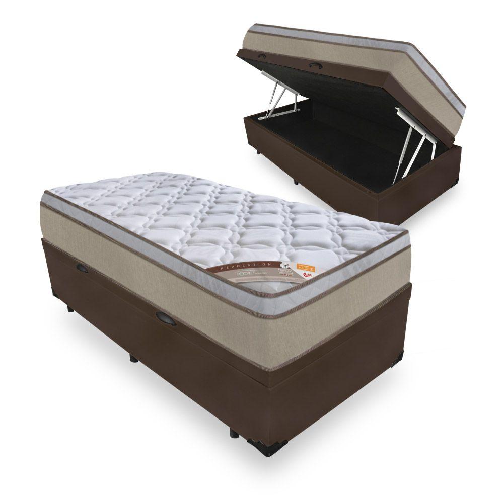 Cama Box Com Baú Solteiro + Colchão de Molas Ensacadas - Castor - Revolution Híbrido 69x188x88cm