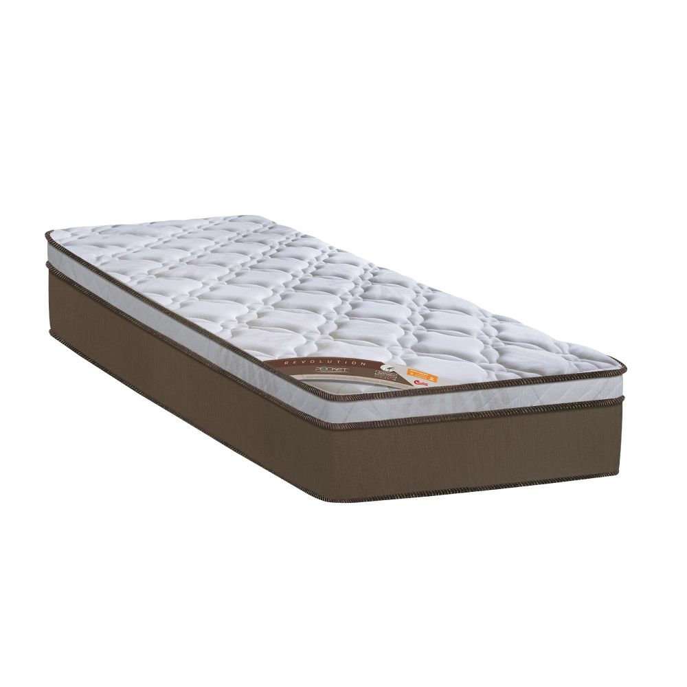 Cama Box Com Baú Solteiro + Colchão de Molas Ensacadas - Castor - Revolution Pocket 69x188x88cm