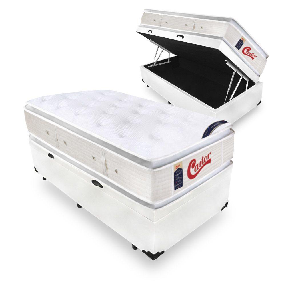Cama Box Com Baú Solteiro + Colchão de Molas Ensacadas  - Castor - Vitagel SLX Double Face Pillow Top  78x188x88cm