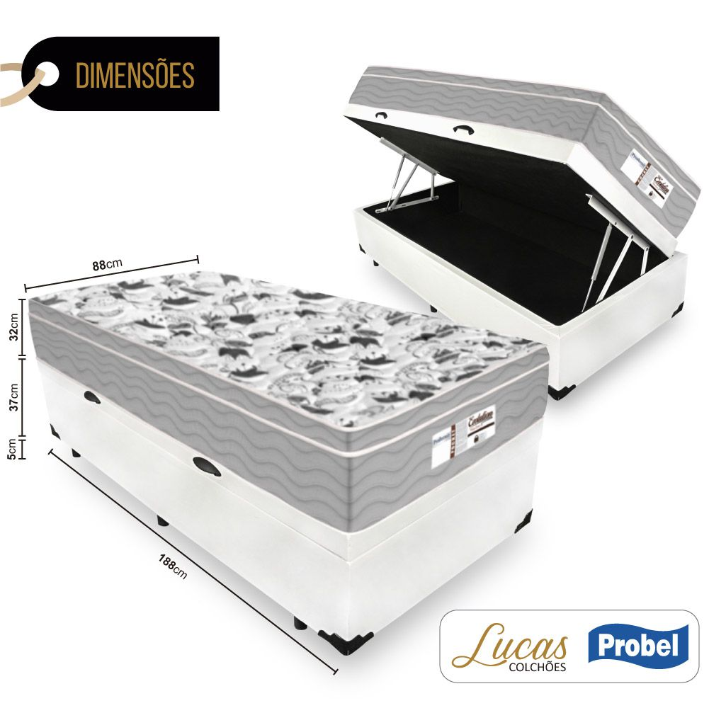 Cama Box Com Baú Solteiro + Colchão De Molas Ensacadas - Probel - Evolution 88cm