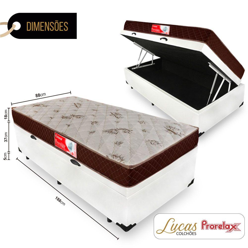 Cama Box Com Baú Solteiro + Colchão De Molas - Prorelax - Cristal 88cm