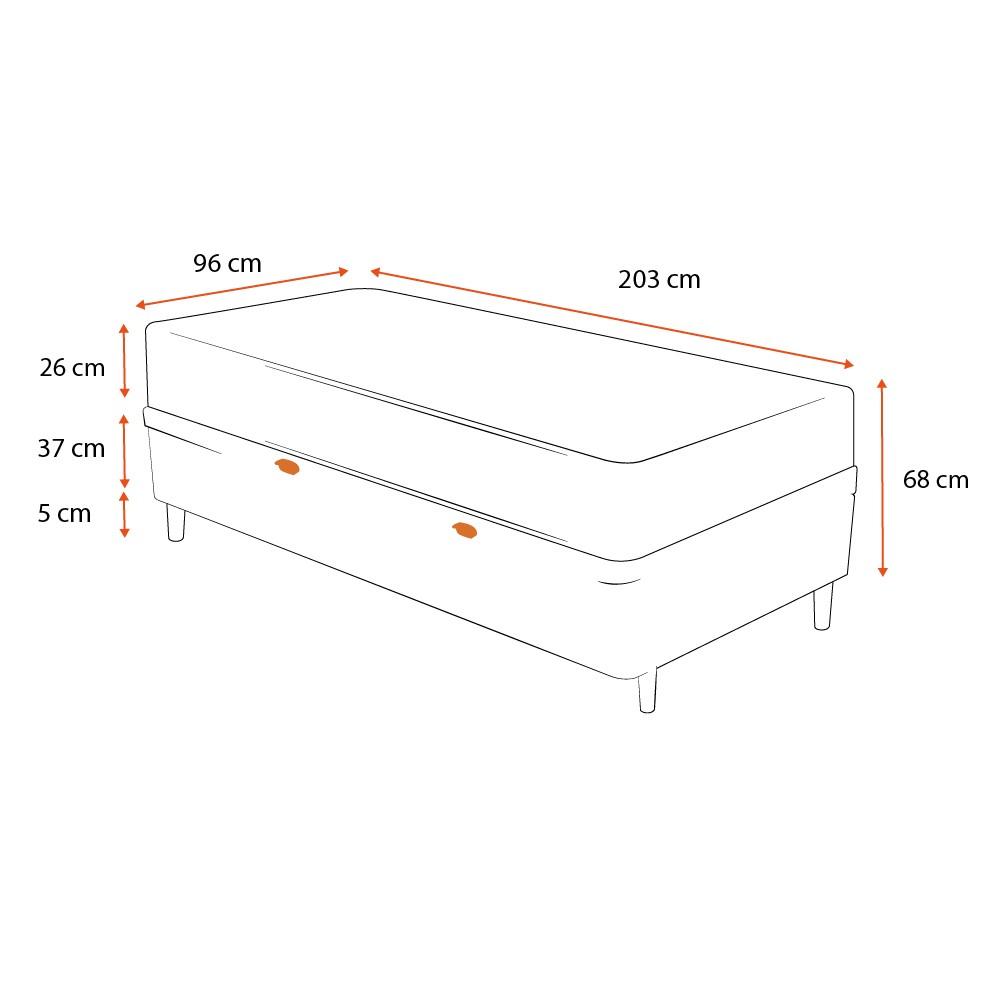 Cama Box com Baú Solteiro King Cinza + Colchão De Molas Ensacadas - Anjos - Classic - 96x203x68cm