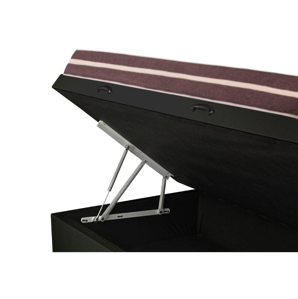 Cama Box com Baú Solteiro King Preta + Colchão De Molas - Anjos - Classic Superlastic 96x203x64cm