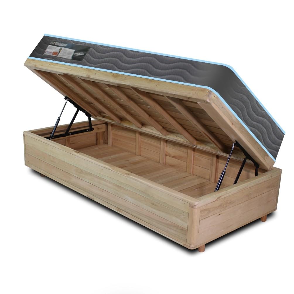 Cama Box com Baú Solteiro Rústica + Colchão De Espuma D33 - Ortobom - Light 88x188x56cm