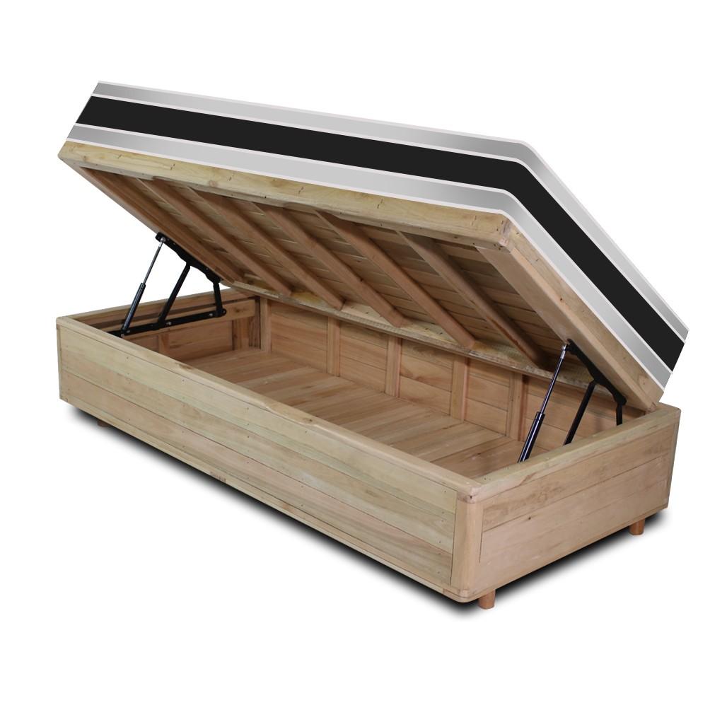Cama Box com Baú Solteiro Rústica + Colchão De Espuma D45 - Castor - Black White Double Face 88x188x69cm