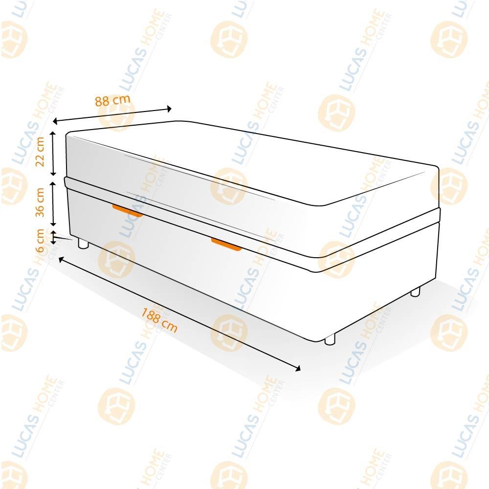 Cama Box com Baú Solteiro Rústica + Colchão De Molas Ensacadas - Anjos - Classic  88x188x64cm