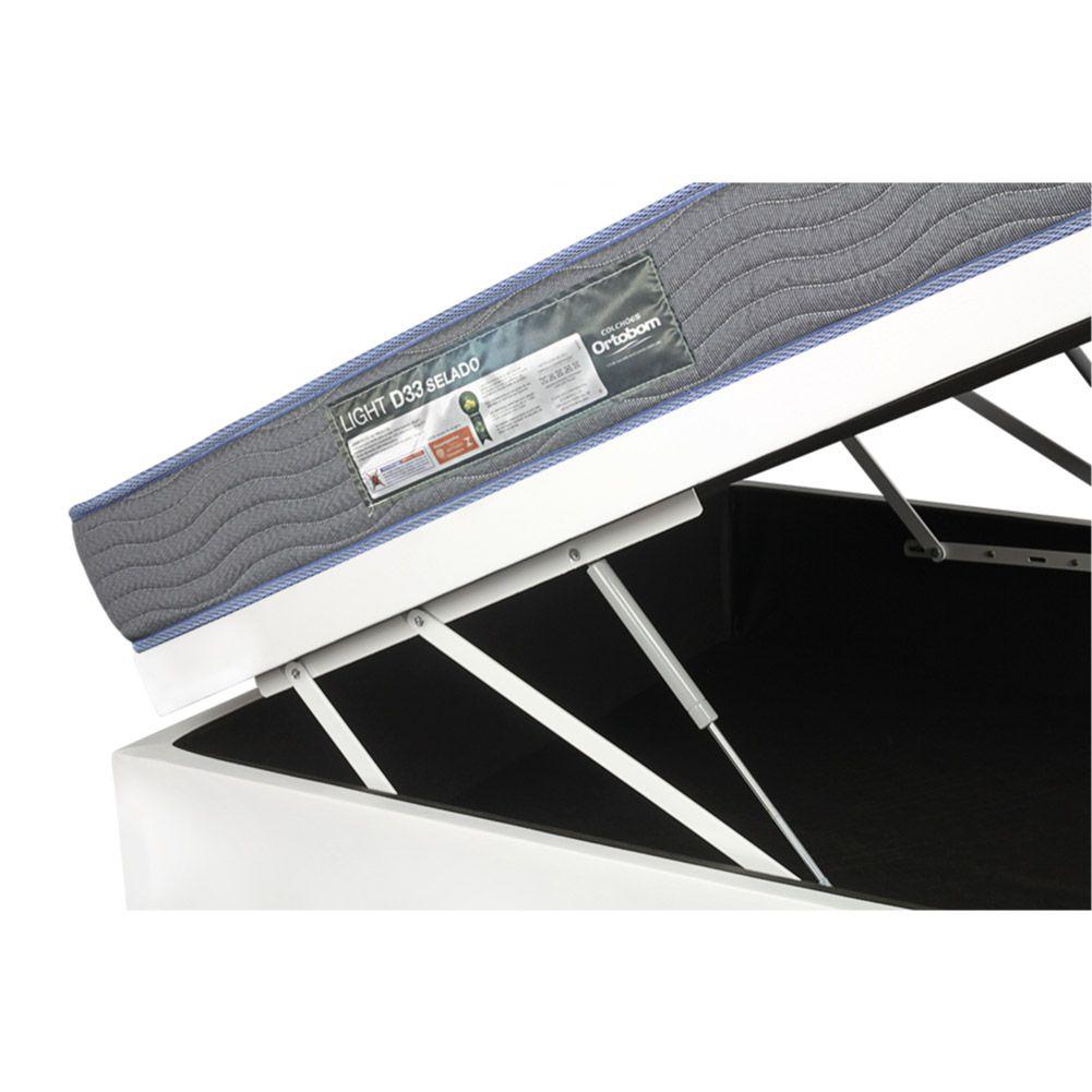 Cama Box Com Baú Viúva + Colchão De Espuma D33 - Ortobom - Light 128cm
